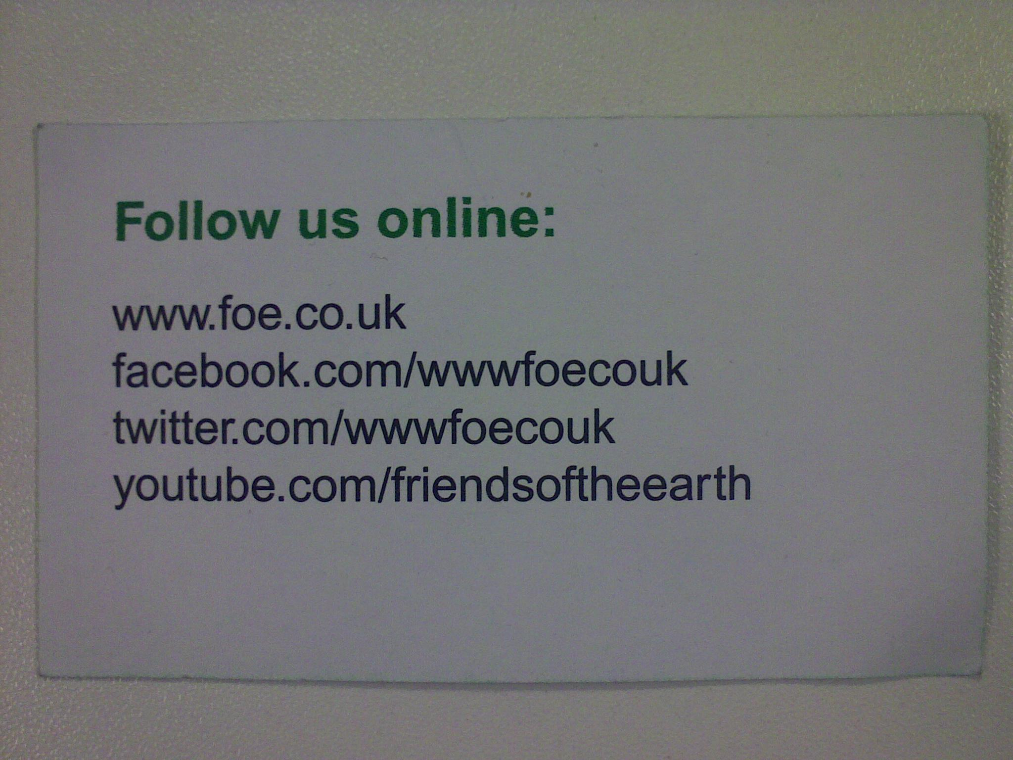 Friends of the Earth Business Card – Ironic or Clever Marketing